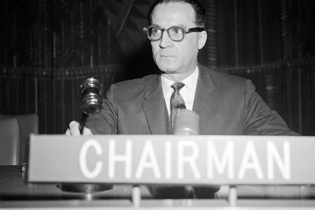 Humberto Calamari (Panama), Vice-Chairman of the UN General Assembly's Third Committee, is presiding over the drafting ICCPR in October 1958. (c) UN Photo