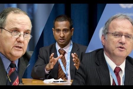 Juan Mendez, UN Photo, (c) Mark Garten; Ahmed Shaheed, UN Photo, (c) Evan Schneider; Cristof Heyns, UN Photo, (c) Paulo Filgueiras