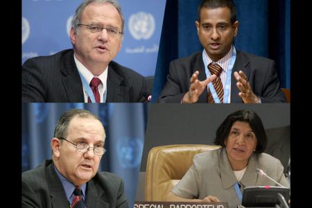 Clockwise from top left:  Cristof Heyns, UN Photo, (c) Paulo Filgueiras; Ahmed Shaheed, UN Photo, (c) Evan Schneider; Rashida Manjoo, UN Photo, (c) Devra Berkowitz; Juan Mendez, UN Photo, (c) Mark Garten