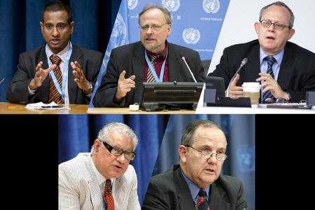 Clockwise from top left:  Ahmed Shaheed, UN Photo, (c) Evan Schneider; Heiner Bielefeldt, UN Photo, (c) Eskinder Debebe; Frank LaRue, UN Photo, (c) Rick Bajornas; Anand Grover, UN Photo, (c) Evan Schneider; Juan Mendez, UN Photo, (c) Mark Garten